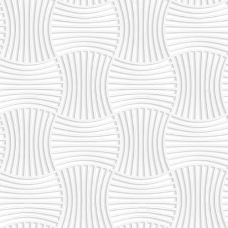 Paper white 3D geometric background. Seamless pattern with realistic shadow and cut out of paper effect.White paper 3D five striped wavy pin will rectangles. Ilustração