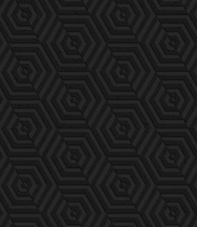 Seamless geometric background. Pattern with 3D texture and realistic shadow.Textured black plastic diagonally cut hexagons. Banco de Imagens - 41178493