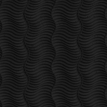 Seamless geometric background. Pattern with 3D texture and realistic shadow.Textured black plastic striped vertical waves. Vettoriali