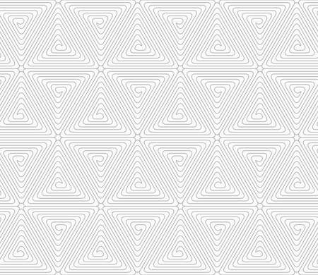 tile pattern: Gray seamless geometrical pattern. Simple monochrome texture. Abstract background.Slim gray triangle spirals forming rounded cubes.