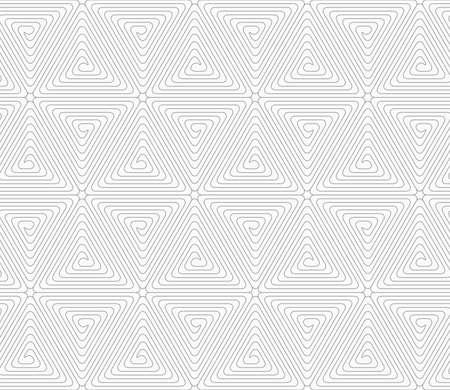 Grijs naadloos geometrisch patroon. Eenvoudige zwart-wit textuur. Abstract background.Slim grijze driehoek spiralen vormen afgeronde kubussen.