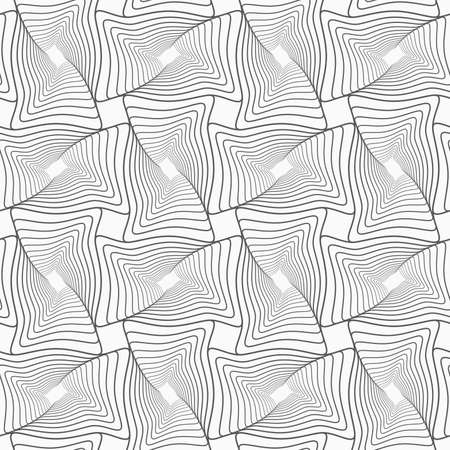 Gray seamless geometrical pattern. Simple monochrome texture. Abstract background.Slim gray striped wavy rectangles with twist.