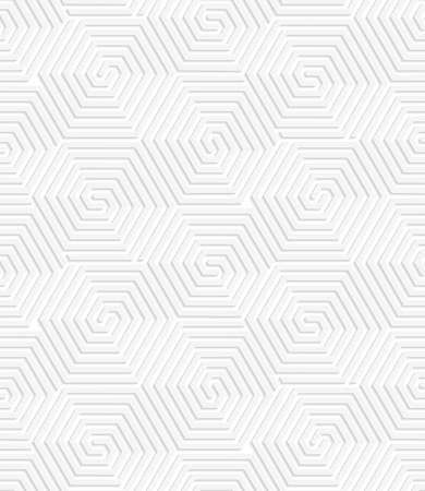 Paper white 3D geometric background. Seamless pattern with realistic shadow and cut out of paper effect.White paper 3D spiral connecting hexagons.