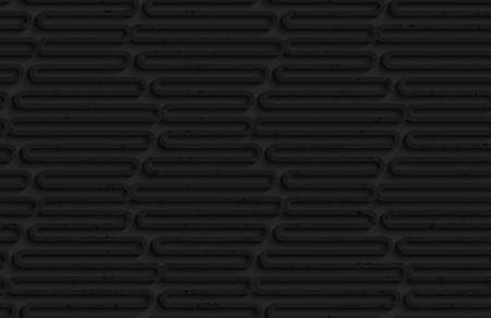 Seamless geometric background. Pattern with 3D texture and realistic shadow.Textured black plastic wavy hexagons. Illustration