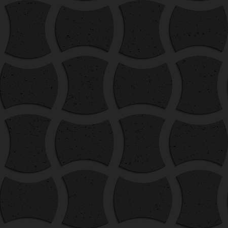Seamless geometric background. Pattern with 3D texture and realistic shadow.Textured black plastic arched solid rectangles. Ilustração