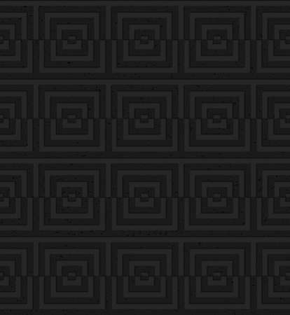 Seamless geometric background. Pattern with 3D texture and realistic shadow.Textured black plastic cut squares.