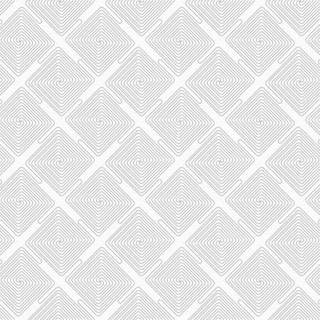 tillable: Gray seamless geometrical pattern. Simple monochrome texture. Slim gray square diagonally connecting spirals. Illustration