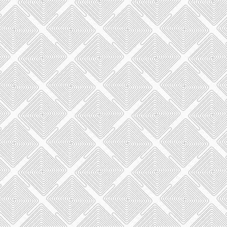 diagonally: Gray seamless geometrical pattern. Simple monochrome texture. Slim gray square diagonally connecting spirals. Illustration