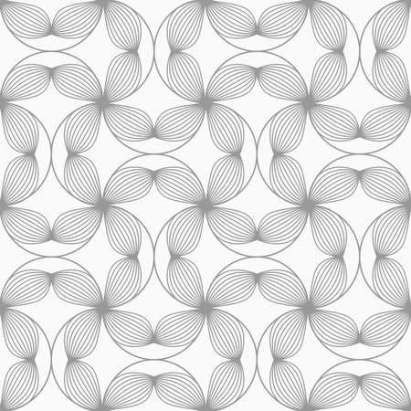 four texture: Gray seamless geometrical pattern. Simple monochrome texture. Abstract background.Slim gray striped four pedal flowers connected.