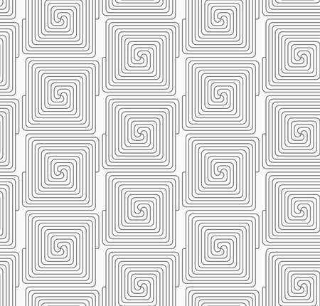 Gray seamless geometrical pattern. Simple monochrome texture. Abstract background.Slim gray square connecting spirals in row. Ilustração