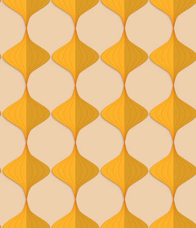 yellowish: Vintage colored simple seamless pattern. Background with paper fold and 3d realistic shadow.Retro fold yellow Chinese lanterns.