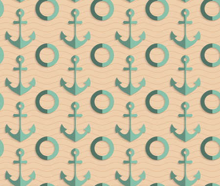 paper fold: Vintage colored simple seamless pattern. Background with paper fold and 3d realistic shadow.Retro fold sea green anchors. Illustration