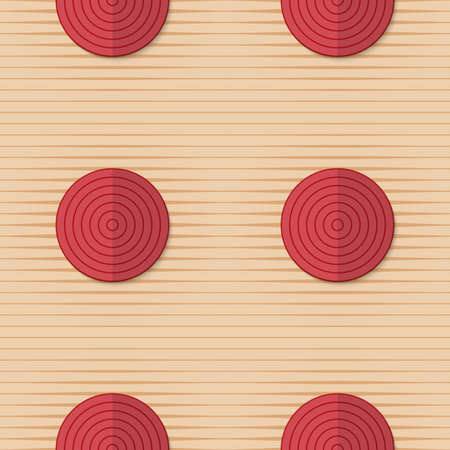 yellowish: Vintage colored simple seamless pattern. Background with paper fold and 3d realistic shadow.Retro fold red circles on stripes.