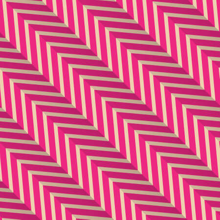 diagonal: Vintage colored simple seamless pattern. Background with paper fold and 3d realistic shadow.Retro fold magenta diagonal striped zigzag.