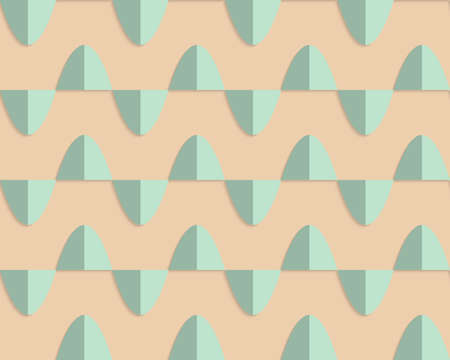 yellowish: Vintage colored simple seamless pattern. Background with paper fold and 3d realistic shadow.Retro fold light green semi ovals.