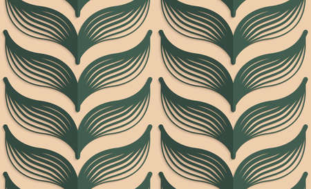 Vintage colored simple seamless pattern. Background with paper fold and 3d realistic shadow.Retro fold deep green striped leaves.