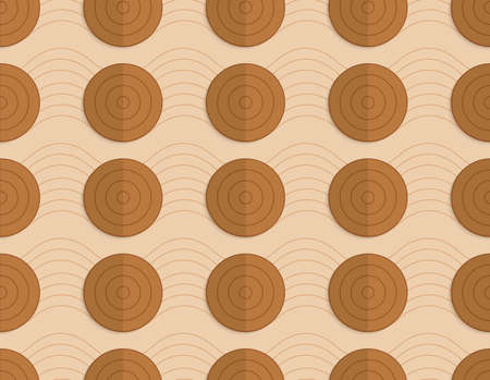 paper fold: Vintage colored simple seamless pattern. Background with paper fold and 3d realistic shadow.Retro fold brown circles on bulging waves. Illustration
