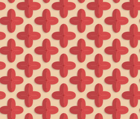 yellowish: Vintage colored simple seamless pattern. Background with paper fold and 3d realistic shadow.Retro fold red four pedal flowers. Illustration