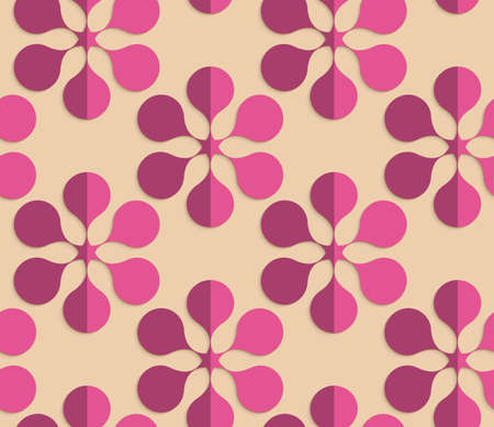 paper fold: Vintage colored simple seamless pattern. Background with paper fold and 3d realistic shadow.Retro fold purple six pedal flowers. Illustration