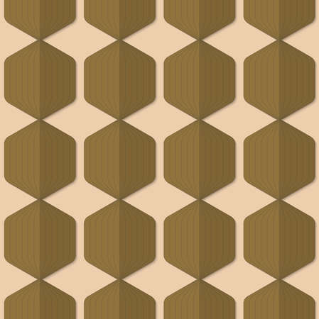 paper fold: Vintage colored simple seamless pattern. Background with paper fold and 3d realistic shadow.Retro fold green striped hexagons.
