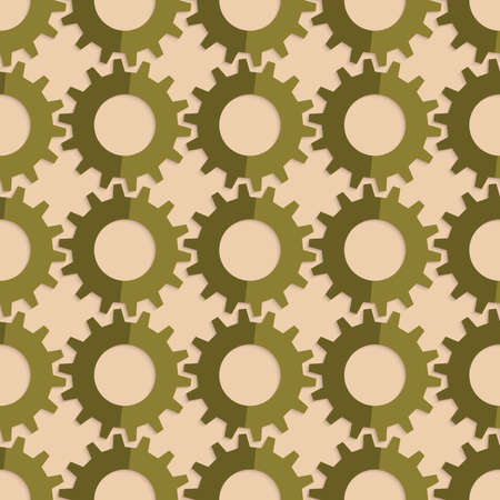 Vintage colored simple seamless pattern. Background with paper fold and 3d realistic shadow.Retro fold green gears.