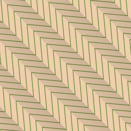 yellowish: Vintage colored simple seamless pattern. Background with paper fold and 3d realistic shadow.Retro fold green diagonal striped zigzag. Illustration