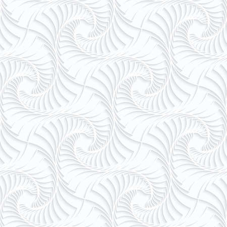 Seamless 3D background. White quilling paper. Realistic shadow and cut out of paper effect. Geometrical pattern.Quilling paper twisted stripes. Ilustração