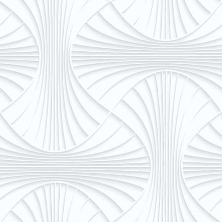 Seamless 3D background. White quilling paper. Realistic shadow and cut out of paper effect. Geometrical pattern.Quilling paper striped rounded pin will.