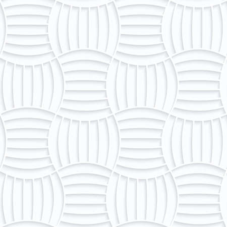 Seamless 3D background. White quilling paper. Realistic shadow and cut out of paper effect. Geometrical pattern.Quilling paper striped pin will. Illustration