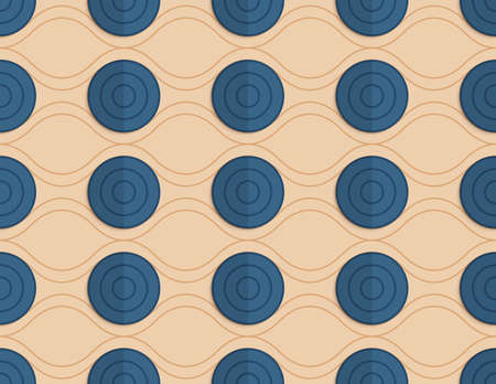 paper fold: Vintage colored simple seamless pattern. Background with paper fold and 3d realistic shadow.Retro fold blue circles on waves. Illustration