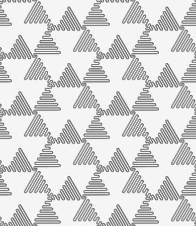 Seamless geometric pattern .Realistic shadow creates 3D look. Light gray colors.Cut out paper effect.Perforated wavy triangles turned. Illustration