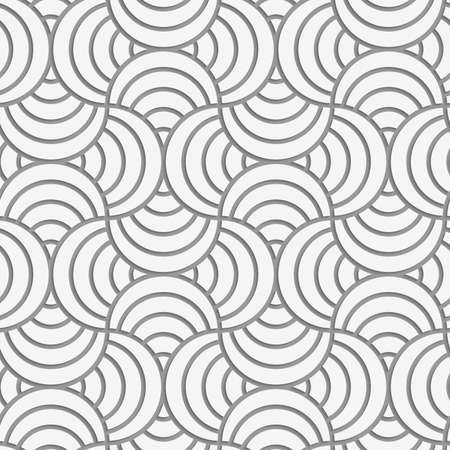 Seamless geometric pattern .Realistic shadow creates 3D look. Light gray colors.Cut out paper effect.Perforated striped circle pin will. Illustration