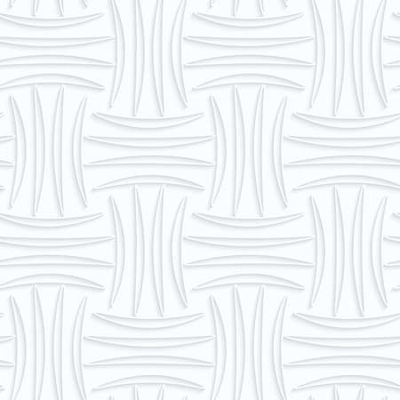 Seamless 3D background. White quilling paper. Realistic shadow and cut out of paper effect. Geometrical pattern.Quilling paper four strip pin will.