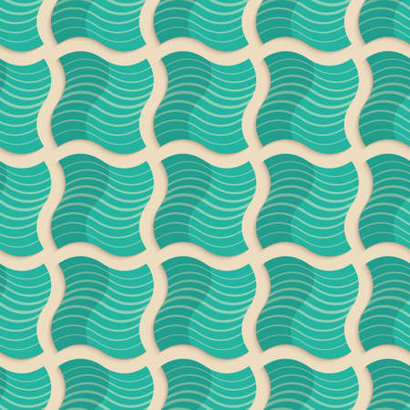yellowish: Vintage colored simple seamless pattern. Background with paper fold and 3d realistic shadow.Retro fold light green striped wavy squares.