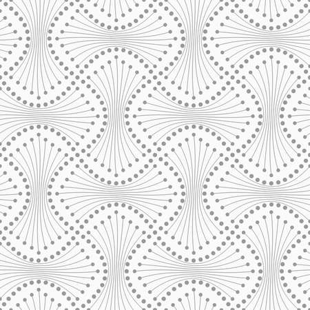 tillable: Abstract geometric background. Gray seamless pattern. Monochrome texture.Dotted spools with lines.