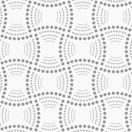 Abstract geometric background. Gray seamless pattern. Monochrome texture.Dotted rectangles with dotted arcs. Ilustrace