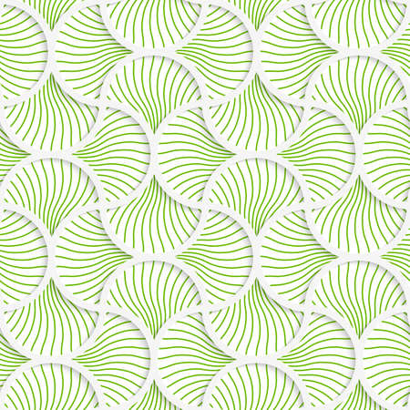 grid paper: Seamless geometric background. Pattern with realistic shadow and cut out of paper effect.3D green wavy striped pin will grid.