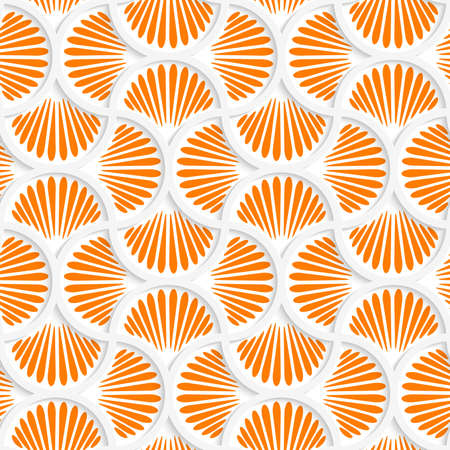 Seamless geometric background. Pattern with realistic shadow and cut out of paper effect.3D orange ray striped pin will grid.