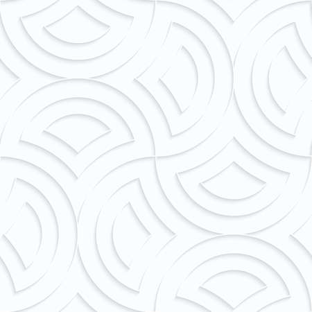 Seamless 3D background. White quilling paper. Realistic shadow and cut out of paper effect. Geometrical pattern.Quilling paper semi circles pin will.