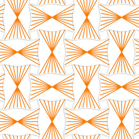 Seamless geometric background. Pattern with realistic shadow and cut out of paper effect.3D orange striped pin will rectangles.