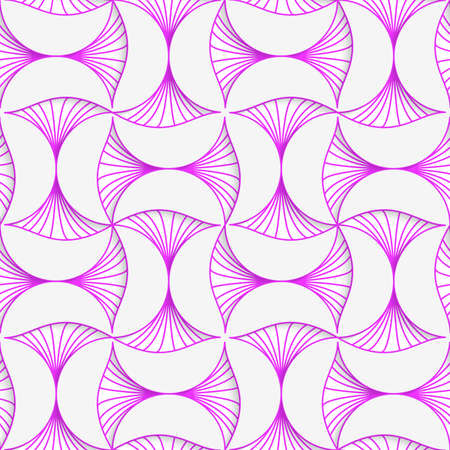 Seamless geometric background. Pattern with realistic shadow and cut out of paper effect.3D purple striped pin will . Illustration