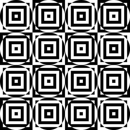 cut through: Black and white alternating circles cut through squares.Seamless stylish geometric background. Modern abstract pattern. Flat monochrome design.