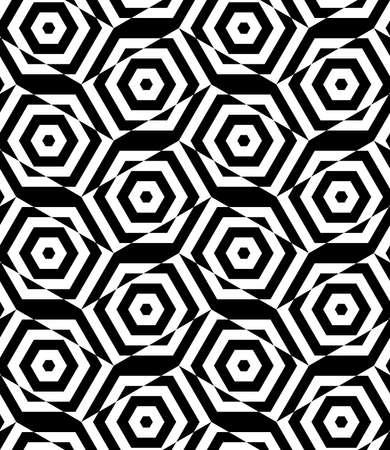 cut through: Black and white alternating rectangles cut through hexagons.Seamless stylish geometric background. Modern abstract pattern. Flat monochrome design.