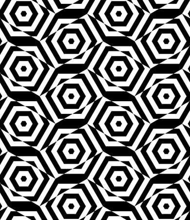 Black and white alternating rectangles cut through hexagons.Seamless stylish geometric background. Modern abstract pattern. Flat monochrome design.