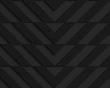plastic backdrop: Black textured plastic chevron cut horizontally.Seamless abstract geometrical pattern with 3d effect. Background with realistic shadows and layering.