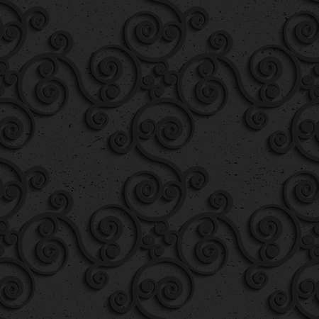 plastic backdrop: Black textured plastic diagonal spiral flourish.Seamless abstract geometrical pattern with 3d effect. Background with realistic shadows and layering.
