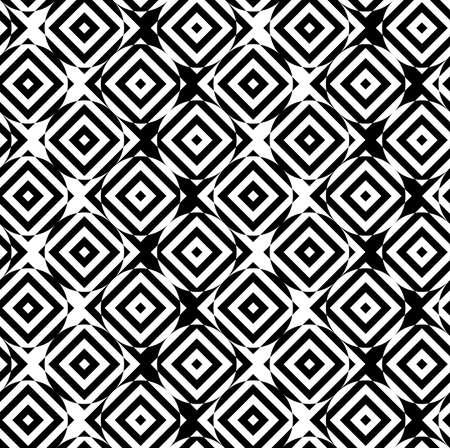 cut through: Black and white alternating circles cut through squares diagonal.Seamless stylish geometric background. Modern abstract pattern. Flat monochrome design.