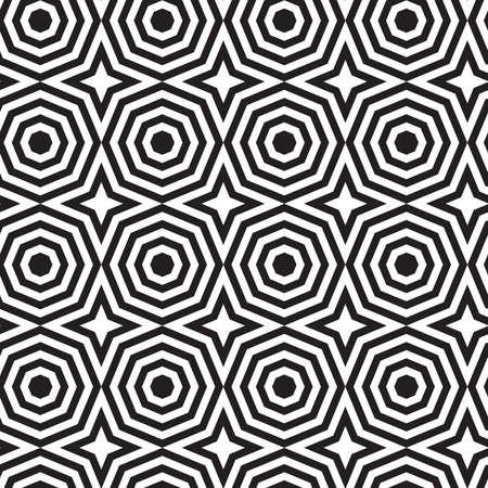alternating: Black and white alternating octagons with stars.Seamless stylish geometric background. Modern abstract pattern. Flat monochrome design. Illustration