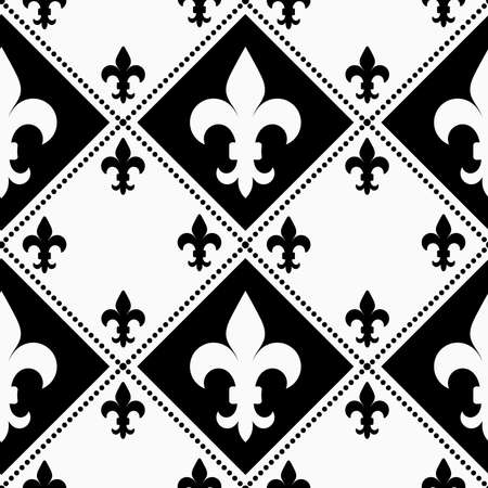 alternating: Black and white alternating Fleur-de-lis with small.Seamless stylish geometric background. Modern abstract pattern. Flat monochrome design.