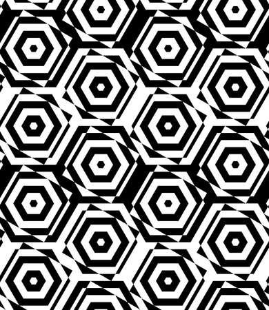 cut through: Black and white alternating squares cut through hexagons.Seamless stylish geometric background. Modern abstract pattern. Flat monochrome design.